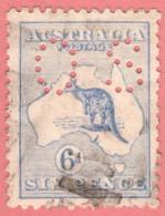 "AUS SC #OB48c U 1915 6d Kangaroo Small ""OS"" WMK 10 Die IV  CV $18.50 - Perfins"