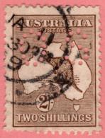 "AUS SC #OB53 U 1924 2sh Kangaroo Small ""OS"" WMK 10  Die II W/flts CV $20.00 - Perfins"