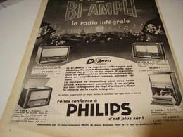 ANCIENNE PUBLICITE RADIO INTEGRALE BI AMPLI PHILIPS  1956 - Musique & Instruments