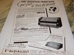 ANCIENNE PUBLICITE INVENTION FRANCAISE MEGA   1952 - Musique & Instruments