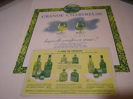 ANCIENNE PUBLICITE LIQUEUR GRANDE CHARTREUSE VERT OU JAUNE   1938 - Alcoholes