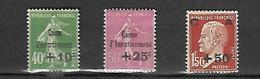 France 1929 Caisse D'Amrtissement  Cat Yt  N° 1253 à 255      N*  MLH Série Complète - France