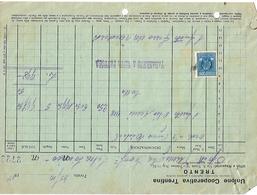 FAT114 - FATTURA 1934- UNIONE COOPERATIVA TRENTINA TRENTO - MARCHE DA BOLLO - Italia