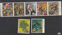 Paraguay 1970 Flowers Painting Art Michel#2092-2098 Strip Of 5 And Two Additional - Complete Set, Mint Never Hinged - Paraguay
