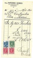FAT121 - FATTURA 1940- ANTONIO SORDO LEVICO (TRENTINO) - MARCHE DA BOLLO - Italien