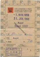 Schweiz - Schüler- Und Lehrlingsabonnement Serie 26 10 Hin- Und Rückfahrten In 3 Monaten - Augst Basel SBB 1959 - Bahn