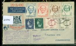 L.P.  KLM BRIEFOMSLAG Gelopen In 1946 Van FRANEKER Naar JOHANNESBURG PROEFVLUCHT NEDERLAND - ZUID AFRIKA  (11.241) - Period 1891-1948 (Wilhelmina)