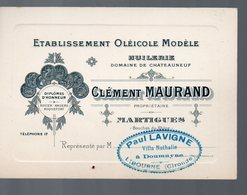Martigues (13 Bouches Du Rhône) Carte HUILERIE Domaine De Chateauneuf  Clément MAURAND  (PPP14094) - Advertising