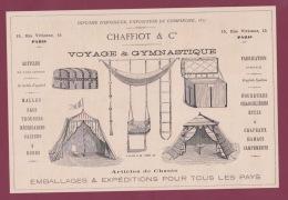 270718  - Document 1878 Pub CHAFFIOT & Cie Voyage Gymnastique Malle Hamac Chasse RUE VIVIENNE PARIS - Athletics