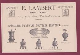 270718  - Document 1878 Pub E LAMBERT Orfèvre En Ruolz 41 Rue Des Trois Bornes PARIS Moulin Café Poivre Couvert - France