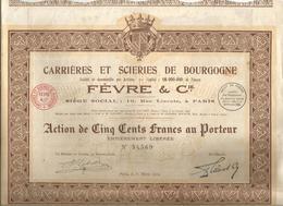 Action De Cinq Cents , 500 Francs , Carrières Et Scieries De Bourgogne , FEVRE & Cie , 1924 , 2 Scans, Frais Fr 1.95 E - Actions & Titres
