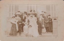 76 GOMMERVILLE, Noce Berland-Brument, Photo De Groupe,  Photographie Argentique 13x9,5, 1907, Collée Sur Carton - Photography