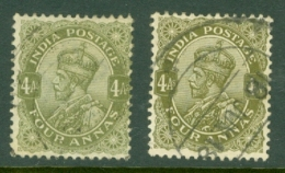 India: 1911/22   KGV      SG174 / 175     4a   Deep Olive And Olive Green Used - India (...-1947)