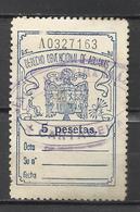 9015-sello 1940 Derecho Obvencional Aduanas 1940 5 Pesetas Dictadura,Franquismo.spai N Revenue Fiscaux Stempelmarken. St - Fiscales