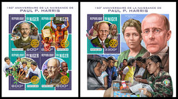 NIGER 2018 - Rotary, P. Harris, M/S + S/S. Official Issue - Rotary, Club Leones