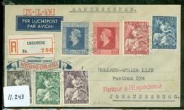 L.P.  AANGETEKENDE KLM BRIEFOMSLAG Gelopen In 1946 Van ENSCHEDE Naar JOHANNESBURG  ZUID AFRIKA  (11.243) - Period 1891-1948 (Wilhelmina)