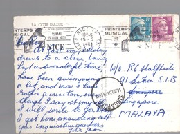 U3215 ANNULLO / I STORIA POSTALE SINGAPORE SU CARTOLINA DI NIZZA _ NICE STAMP AND TIMBRE - Singapore (1959-...)