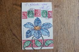 CARTE REPRESENTATION DE TIMBRES - FLEUR - Stamps (pictures)
