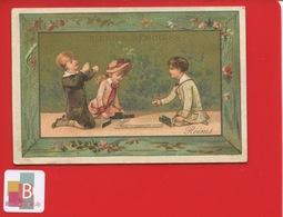 REIMS Galerie Rémoise Jolie Chromo Calendrier 1886 Enfants Jeu De Domino Dominos - Calendars
