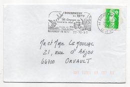 Flamme--BOURGNEUF EN RETZ -44 -1993--Type Marianne Bicentenaire (oiseaux,musée )--belle Empreinte - Marcophilie (Lettres)
