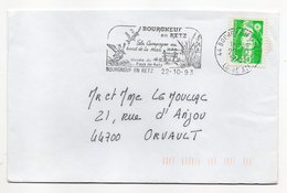 Flamme--BOURGNEUF EN RETZ -44 -1993--Type Marianne Bicentenaire (oiseaux,musée )--belle Empreinte - Postmark Collection (Covers)