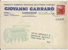 CP0205-CARTOLINA PUBBLICITARIA MACCHINE DA SEMINA GIOVANNI CARRARO CAMPODARSEGO PADOVA - 1946-.. République