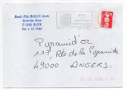 Flamme--1992--BUXY--71 -Son Vieux Chatel,vins Blancs De Montagne,blason -Type Marianne Bicentenaire-personnalisée - Marcophilie (Lettres)