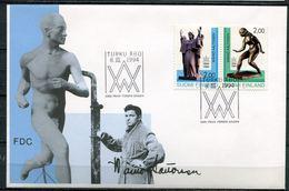 """First Day Cover Finnland,Suomi 1994 Mi.Nr.1242/43 Ersttagsbrief """"100.Geburtstag Von Wälnö Aaltonen,Skulpturen"""" 1 FDC - Scultura"""