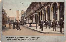 NEW YORK CITY~BROADWAY IS LONESOME WITHOUT YOU-THEODOR EISMANN ROMANCE POSTCARD 33090 - Broadway