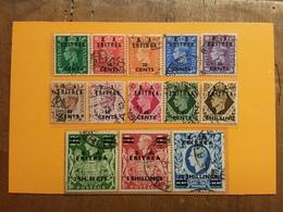 OCCUPAZIONE STRANIERA DELLE COLONIE ITALIANE - Sovrastampati B.A. ERITREA Nn. 14/26 Timbrati Completa + Spese Postali - Eritrea