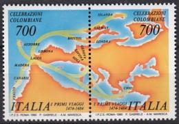 ITALIEN 2103-2104, Paar, Postfrisch **, 500. Jahrestag Der Entdeckung Von Amerika, 1990 - 6. 1946-.. Republik