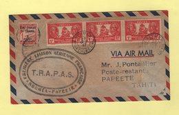 Premiere Liaison Aerienne Francaise - Noumea Papeete - TRAPAS - 28 Octobre 1947 - Poste Aérienne