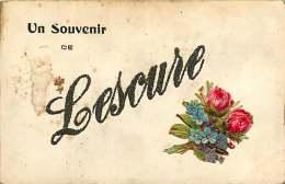 280718 - 81 LESCURE - Un Souvenir De - Fantaisie Paillette Découpi Fleurs Rose Myosotis - Lescure