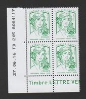 FRANCE / 2016 / Y&T N° 5015 ** : Ciappa Sans Grammage (de Feuille Gommée) TVP LV X 4 - Coin Daté 2016 06 27 - TD 205 - Angoli Datati