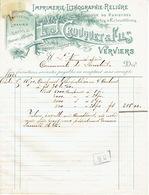 VERVIERS Facture 1904 L.J. CROUQUET& Fils à VERVIERS - Imprimerie-Lithographie-Reliure-Gravures-Chromolithographie - Belgique