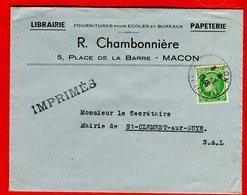 1948 Timbre 2 F Vert Cérès De Mazelin Seul Lettre Tarif Imprimé Oblitération Macon Saône-et-Loire - France