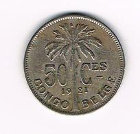 &   CONGO  BELGE  50 CENTIMES   ALBERT I   1921 - Congo (Belge) & Ruanda-Urundi