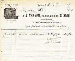 Facture Illustrée 1896 VERVIERS - A. THEVEN Successeur De G. SEIB - Sellier-harnacheur - Malles De Voyage - Belgique