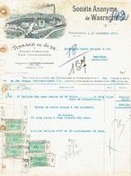 Factuur Geillustreerd 1923 WAEREGHEM - Société Anonyme De WAEREGHEM - Tissage De Jute, Toiles D'emballage, Sacs - Belgique