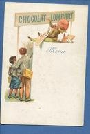CHOCOLAT LOMBART Joli Menu Chromo Peintre écolier écriture Enseigne Imp  Charles Verneau - Lombart