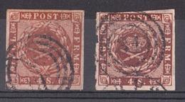 Danemark - 1858/63 - N° 8 (x 2 Nuances) - Fond Ondulé - 1851-63 (Frederik VII)