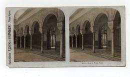 Ancienne CARTE Vue Stéréoscopique Vues D'Espagne Séville Casa De Pilato Patio - Photos Stéréoscopiques
