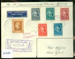 L.P.  * KLM * BRIEFOMSLAG Gelopen In 1946 Van ROTTEVALLE Naar NEW YORK * 1e KLM VLUCHT  V.v. (11.250) - Period 1891-1948 (Wilhelmina)