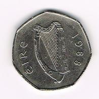 &-   IERLAND  50  PENCE  1988 - Irlande