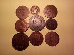 DÉPART 1 EURO LOT DE 9 MONNAIES XIX ème Et XX ème ANGLAISES ESPAGNOLES IRLANDAISES FRANCAISES Et Autres Voir Photos - Coins & Banknotes