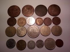 DÉPART 1 EURO LOT DE 21 MONNAIES DU MONDE ITALIENNES 1866 ET AUTRES - Kilowaar - Munten