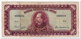 CHILE,10 ESCUDOS ON 10 000 PESOS,1960-61,P.131,F-VF - Chile