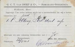 INDES NEERLANDAISES - 1890 - CARTE ENTIER Avec REPIQUAGE AU DOS De SEMARANG => PADANG - Niederländisch-Indien