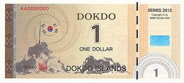 Specimen Île DOKDO Corée 1 Dollar 2012 UNC - Fictifs & Spécimens