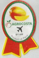 # MANGO AGROCOSTA PERU BY AIR Fruit Sticker Label, Etichette Etiquettes Etiquetas Adhesive Aufkleber Fruta Frucht Avion - Fruits & Vegetables